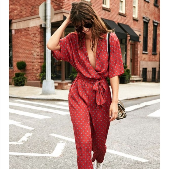 dcb50431e028 Urban Outfitters Bezel Wrap Belted Jumpsuit